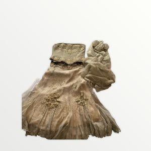 LES HABITUDES Los Angeles Corset Dress with shawl